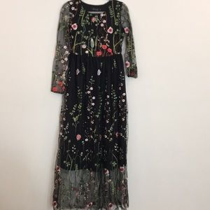 Chicwish Black Floral Embroidered Maxi Dress
